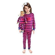 Girls Matching Doll&Toddler Love 4 Piece Long Cotton Pajamas Kids Clothes