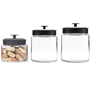Anchor Hocking Montana Glass Jars with Fresh Sealed Lids Canister Set, Black Metal, 3-Piece Set