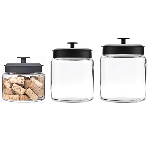 Anchor Hocking Montana Glass Jars with Airtight Lids Canister Set, Black Metal, 3-Piece - Jar 96 Ounce