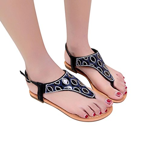 BSGSH Women's Summer Bohemian Glitter T-Strap Thong Ankle Strap Wedding Flat Sandals (7 B(M) US, Black)