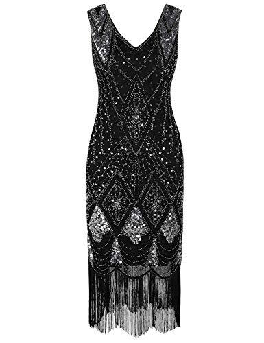 Women's Vintage Dress Sequin Art 1920s Gatsby Cocktail Deco Flapper Dress Black SilverMedium]()