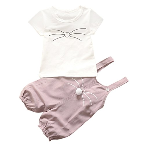 Baby Outfits, Inkach Little Girls Cat Shaped Animal Outfit Costume Short Shirt Stappy Pant Set (80, White) - 80's Denim Costumes