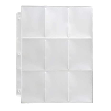 Toupeone 9 Pocket Baseball Card Sleeves For 3 Ring Binder Clear Plastic Trading Card Page Protectors Sheet 30 Pages
