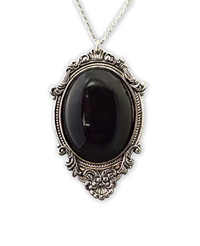 Real Metal Jet Black Cabochon in Silver Finish Pewter Frame Pendant Necklace