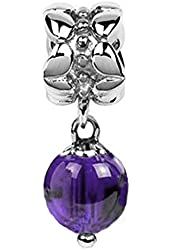 Sterling Silver February Birthstone Amethyst Dangle Bead Charm