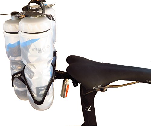 - Valdora Three Cage Water Bottle Mount - Behind Saddle Water Bottle Mount - Includes Cages. Capable of Many configurations Carrying CO2 cartridges, CO2 inflator, and a Bright red LED Light