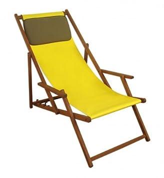 Amazon.de: Erst-Holz® Deckchair gelb Liegestuhl klappbare ...