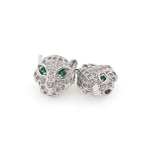 Green Eyes Leopard Beads,Animal Beads,Clear Cubic Zirconia Beads,Panther Head Charm 11X11X6mm Silver 8Pcs