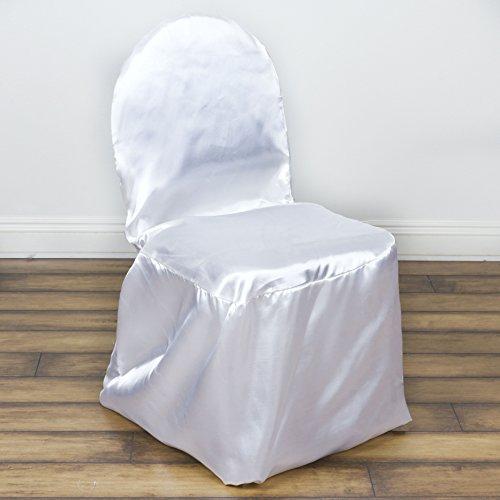 BalsaCircle 10 Pcs Satin Banquet CHAIR COVERS   White