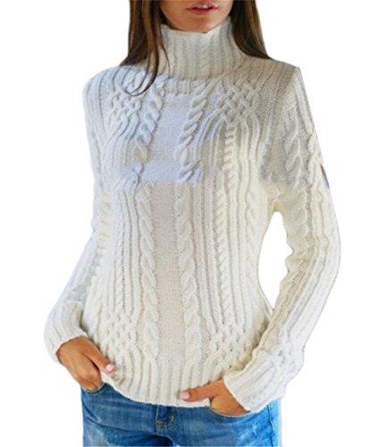 Qiangjinjiu Women's Varigated Rib Rayon Turtleneck Sweater White XS