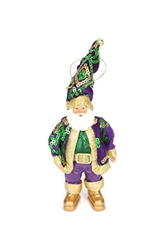 (Mardi Gras King Santa Christmas Holiday Tree Ornament from right from Santa's Workshop Cajun Creole party decor)
