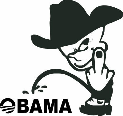 Funny peeing on obama cowboy middle finger vinyl decal sticker 6