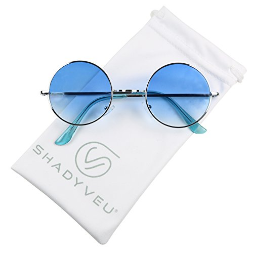 ShadyVEU - Retro Colorful Tint Lennon Style Round Groovy Hippie Wire Sunglasses (Blue Lens, 50) (Groovy Stuff)