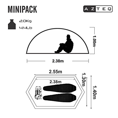 AZTEQ Minipack up 2 Person 8.3 by 4.6 Foot Sport Camping Tent 100% Waterproof 6000mm