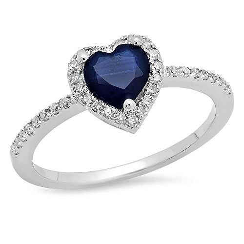 10K White Gold Heart Cut Blue Sapphire & Round White Diamond Heart Engagement Ring (Size 7)
