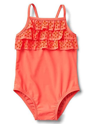 Gap Baby Girls Eyelet Ruffle Swim One Piece Sunset Glow 18-24 - One Gap Baby Piece