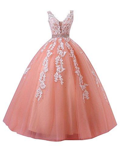 Abendkleider Perlen Koralle Party Ballkleid Herz Kleid Lang A Erosebridal mit Ausschnitt qE8CR