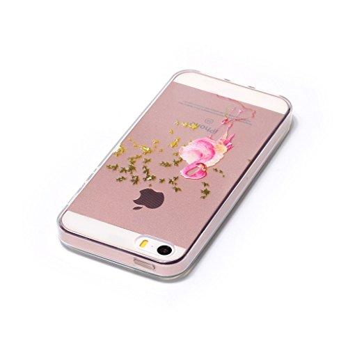 iPhone 5 / 5S / SE Hülle , Leiai Mode Baumblatt Gans Transparent TPU Weich Schwarz Tasche Schutzhülle Silikon Handyhülle Stoßdämpfende Schale Case Shell für Apple iPhone 5 / 5S SE