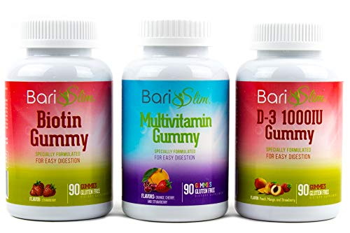BariSlim Bariatric Multivitamin 3 Pack – (Multivitamin, Biotin, and D3) - Specially Formulated Gummy Vitamins for Patients After Weight Loss Surgery – 90 Fruit Chews per Bottle