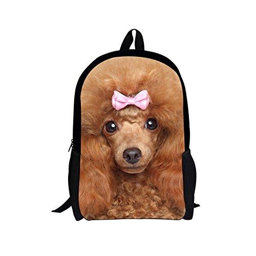 (Alemiu Girls Poodle Backpack School Bag for Children Durbale Bookbag Rucksack Animal Knapsack Teens)