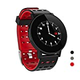 CRATEC W7 Fitness Tracker, Smart Watch with Heart Rate Blood Pressure Sleep Monitor, Long Battery Life Touch Screen Waterproof Calorie Pedometer Activity Tracker Band for Men Women and Kids (Red)