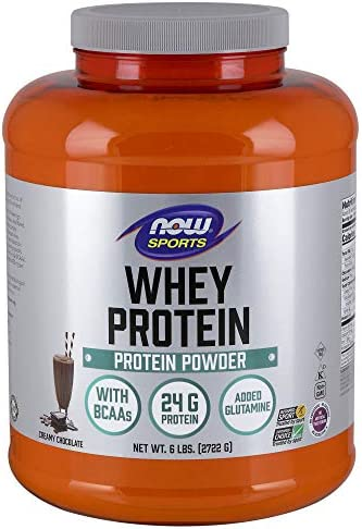 NOW Sports Nutrition, Whey Protein, 24 G With BCAAs, Creamy Chocolate Powder, 6-Pound