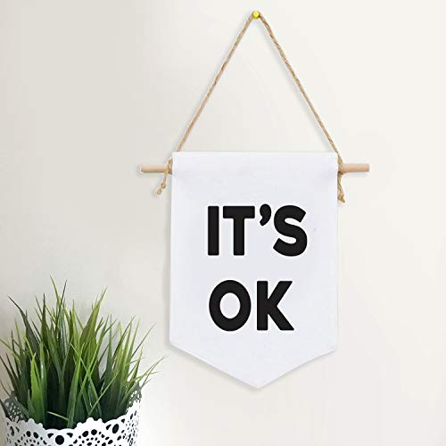 It's OK Canvas Banner Wall Art Single Flag Fabric Banner Wall Hanging Motivation Quote Pennant Minimalist Home Decor