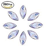500Pcs in Bulk 7X15mm Crystal AB Acrylic Flatback Rhinestones Eye Shaped Diamond Beads for DIY Crafts Handicrafts Clothes Bag Shoes Wholesale, White AB
