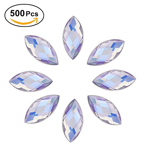 500Pcs in Bulk 7X15mm Crystal AB Acrylic Flatback Rhinestones Eye Shaped Diamond Beads for DIY Crafts Handicrafts Clothes Bag Shoes Wholesale, White AB by Yosoo