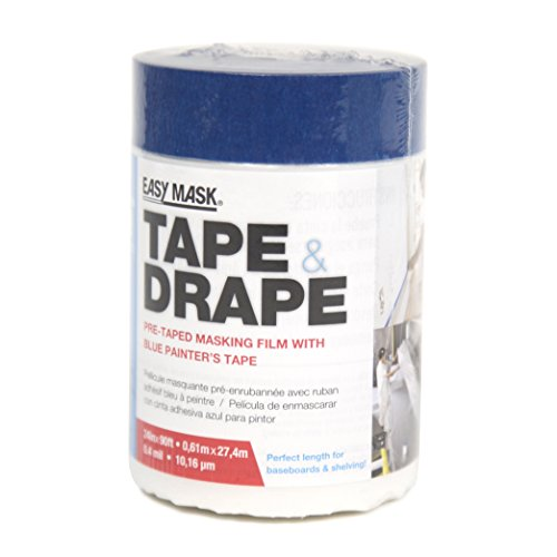 14 Day Blue Painters Tape - Easy Mask Tape & Drape Pre-Tape Masking Film 2 x 90 feet with 14 day Blue Painter's Tape