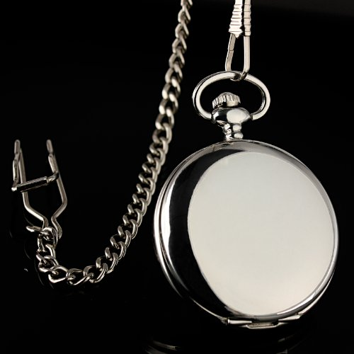 ESS Mens Smooth Stainless Steel Case White Roman Numerals Modern Pocket Watch with Chain - White Watch Roman Numeral Pocket