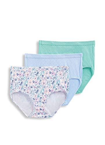 Jockey Women's Underwear Elance Breathe Brief - 3 Pack, Windswept Blue/Sketch Floral/Moonlight Jade, 9