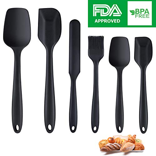 (Silicone Spatula,6 piece Non-scratch Heat Resistant Rubber Spatula with Stainless Steel Core,Non Stick and Good Grips Spatulas for Cooking,Baking and Mixing(Black))