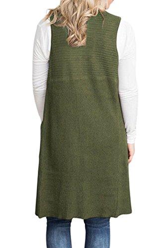 Armée Mode Outerwear Manteaux Coat Sans Verte Manche Blousons Long Cardigan Veste Hiver Casual Fräulein Femmes Couleur Tops Et Automne Hauts Fox Unie zRHYqR