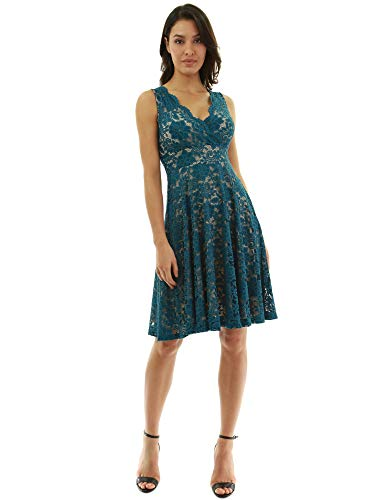 (PattyBoutik Women Floral Lace Overlay Fit and Flare Dress (Teal and Beige)