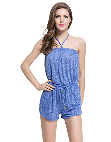 Graceful.u Women's Strapless Terry Romper Jumpsuit with Elastic Waist Playsuit, Blue Large