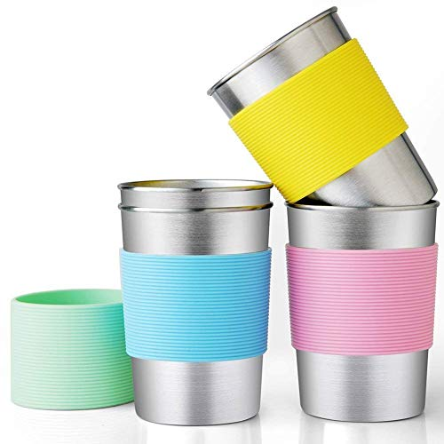 Stainless Steel Cups for Kids and Toddlers 11oz. with Silicone Sleeves, Safe Rim water Tumblers Unbreakable, Toxins Free, Shatterproof Outdoor Pint Cups, Stackable Metal Drinking Glasses (4-Pack)