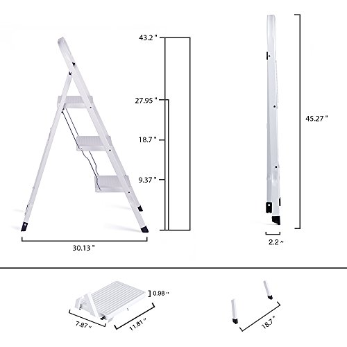 Delxo 3 Step Ladder Folding Step Stool Ladder with Handgrip Anti-Slip Sturdy and Wide Pedal Multi-Use for Household and Office Portable Step Stool Steel 330lbs White (3 Feet) by Delxo (Image #6)
