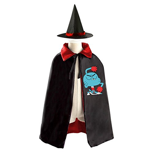 Darwin Gumball Costume (DIY Cheer The Amazing World of Gumball Costumes Party Dress Up Cape Reversible with Wizard Witch Hat)