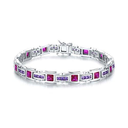 Merthus 925 Sterling Silver Princess Red Ruby & Amethyst Link Bangle Bracelet