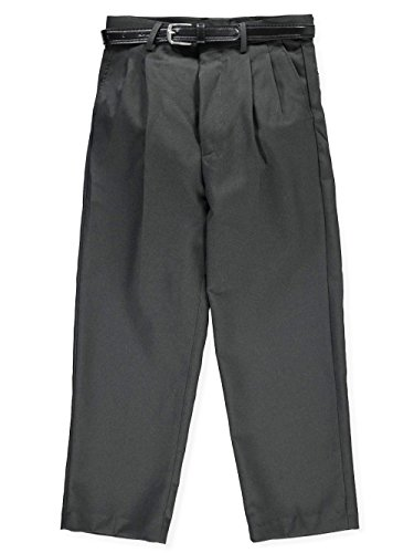 Dress Pants Gray Charcoal (Alberto Danelli Big Boys' Flat Front Belted Dress Pants - Charcoal Gray, 18)