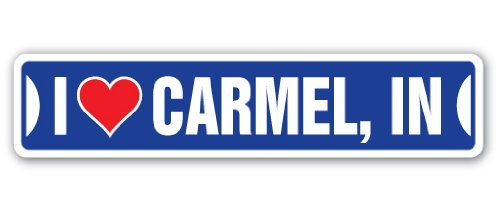 I Love Carmel, Indiana Street Sign in City State us Wall Road décor ()