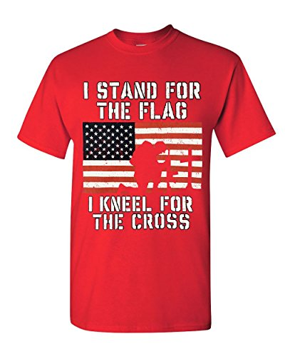 I Stand for The Flag I Kneel for The Cross T-Shirt Patriotic Military Red XL