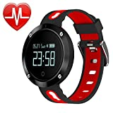 ZRSJ DM58 Heart Rate Blood Pressure Monitor Fitness Tracker Touch Screen Watch Waterproof Smart Band Sports Bracelet Pedometer Watch for Android and iOS (Black-Red)
