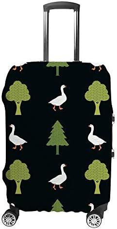 スーツケースカバー ガチョウと木 伸縮素材 キャリーバッグ お荷物カバ 保護 傷や汚れから守る ジッパー 水洗える 旅行 出張 S/M/L/XLサイズ