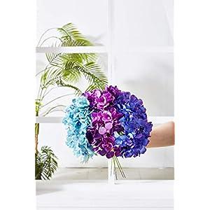 Kislohum Artificial Hydrangea Flowers Heads 10 Teal Hydrangea Silk Flowers Head for Wedding Centerpieces Bouquets DIY Floral Decor Home Decoration with Long Stems 4