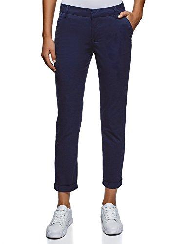 oodji Ultra Women's Basic Cotton Trousers, Blue, 6 by oodji