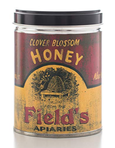 (Our Own Candle Company Milk & Honey Scented Candle in 13 Ounce Tin with a Vintage Honey Fields Label by Linda Spivey )
