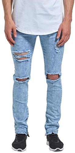 Mrpick Mens Side Ankle Zipper Skinny Ripped Stretch Destroyed Jeans