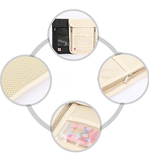 RFID anti-theft folder,travel passport bag, multifunctional hanging neck bag black by CutePaw (Image #4)